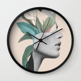 Floral Portrait /collage Wall Clock