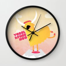 Yappy the Yodelling Yoga Yak Wall Clock