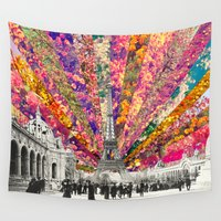allyson johnson Wall Tapestries featuring Vintage Paris by Bianca Green