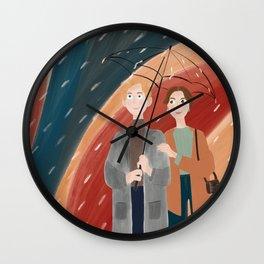 Couple under umbrella illustration, couple in the rain illustration Wall Clock