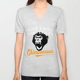 Chimpanzees T-Shirts For Girls Unisex V-Neck