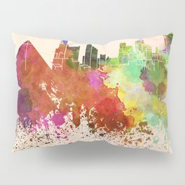 Memphis skyline in watercolor background Pillow Sham