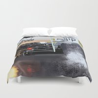 senna Duvet Covers featuring Birth of a Myth by Borja Sanz