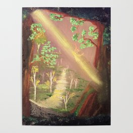 Faery forest cave Poster