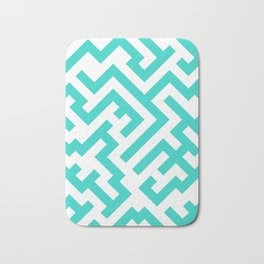 White and Turquoise Diagonal Labyrinth Bath Mat
