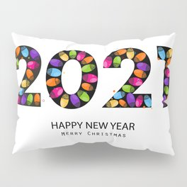 2021 text with doodle red paw print. Happy new year and merry christmas greeting card black background Pillow Sham