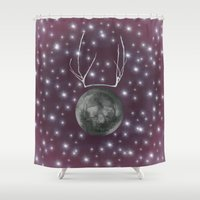 dark side of the moon Shower Curtains featuring Dark Side of the Moon by Helle Gade