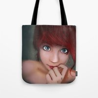 redhead Tote Bags featuring Redhead by womoomow