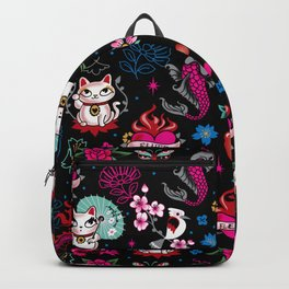 Lucky Cat Maneki Neko , Dragons and Koi fish Backpack