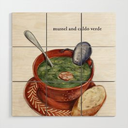 La Cuisine Fusion - Mussels with Caldo Verde Wood Wall Art