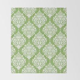 Green Damask Throw Blanket