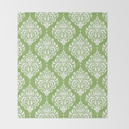 Green Damask Throw Blanket