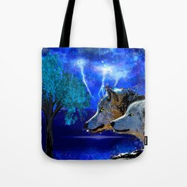 WOLF AND LIGHTENING Tote Bag
