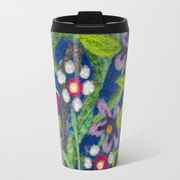 Cozy Felted Wool Flower Garden Travel Mug