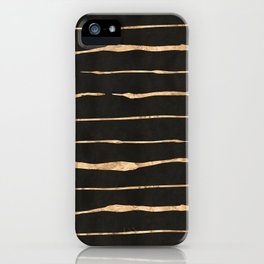 Black and rose-gold abstract stripes iPhone Case