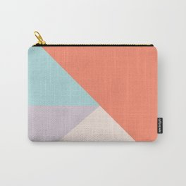 Geometric orange teal lavender color block pattern Carry-All Pouch
