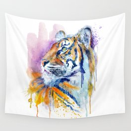 Young Tiger Watercolor Portrait Wall Tapestry