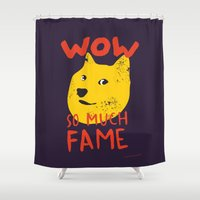 shiba Shower Curtains featuring Shiba doge so much fame by Sylwia Borkowska