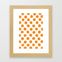 Orange Polka Dot Ink Spots Framed Art Print