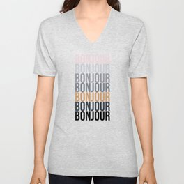 Bonjour in Bold Typography and Fall Colors Unisex V-Neck