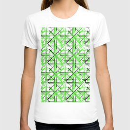 Intersecting light green lines with a black diagonal on a white background. T-shirt
