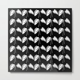 Tropical Monstera Leaves White on Black Metal Print