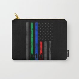 Thin Blue, Red, Green Line Flag Carry-All Pouch