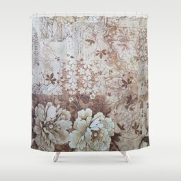 Rustic vintage ivory brown lace floral typography Shower Curtain