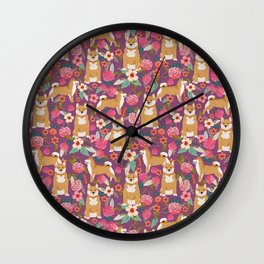 Shiba Inu dog floral pet gifts must haves shiba inus dog breeds pure bred Wall Clock