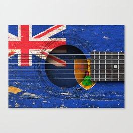 Old Vintage Acoustic Guitar with Turks and Caicos Flag Canvas Print