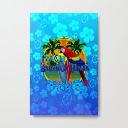 Island Time Surfing Blue Tropical Flowers Metal Print