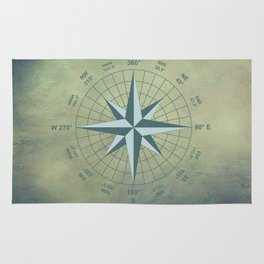 Compass Graphic on Grey Textured background Rug