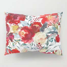 Red teal hand painted boho watercolor roses floral Pillow Sham