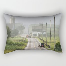 Amish Buggy confronts the Modern World Rectangular Pillow