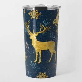 Golden Reindeer Travel Mug