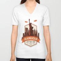 fringe V-neck T-shirts featuring Fringe: Manhatan by stagyika