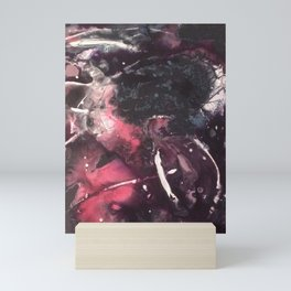 Pink and Black Original Abstract Painting by JodiLynpaintings. Splatter Abstract Pink Black Mini Art Print