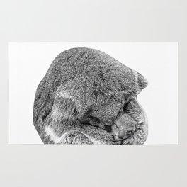 koala holding little koala b&w Rug
