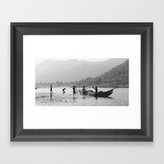 Life on the Godavari River Framed Art Print