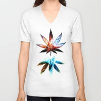 marijuana V-neck T-shirts featuring Marijuana Leaf - Design 1 by Spooky Dooky
