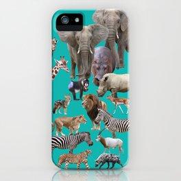 African Animals_Green-cyan background iPhone Case