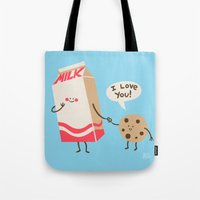 milk Tote Bags featuring Cookie Loves Milk by Jessica Fink