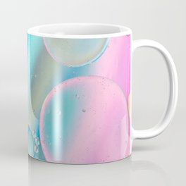Oil drops in water. Defocused abstract psychedelic pattern image pastel colored. Abstract background with colorful gradient colors. DOF Coffee Mug