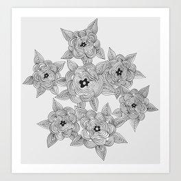 Lined flowers Art Print