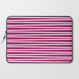 Berry pink and white thin horizontal stripes Laptop Sleeve