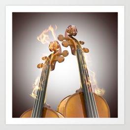 Burning two violin Art Print