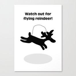 Flying Reindeer Christmas Card Canvas Print