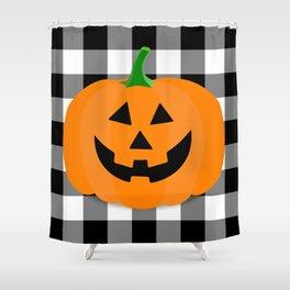 Halloween Jack O'Lantern Buffalo Check Shower Curtain