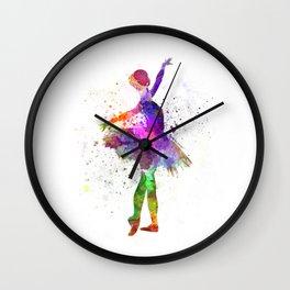 Young woman ballerina ballet dancer dancing with tutu Wall Clock