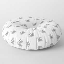 Wedding White Silver Crowns Floor Pillow